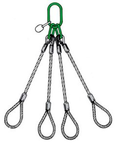Anschlagseile 4-strängig, einers. Ring,  unten Schlaufen, Abb. 16 nach DIN EN 13414-1