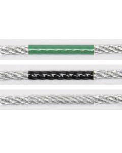 Niro-Drahtseil 7x7 mit PA 6-ummantelung grün, schwarz oder transparent