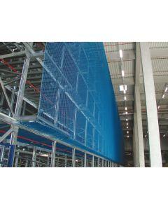 Vertikale Palettenregal-Sicherungsnetz aus hochfestem Polypropylen für 3 Regalfeld à 2,70 m Breite  und unterschiedliche Höhen